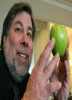 Stephen Wozniak holding the forbidden fruit (the apple) in reverence.