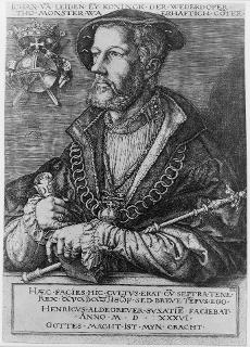An engraving of Bockelson holding a scroll which according to occult teachings is a signification of one being a member of the mystery schools.