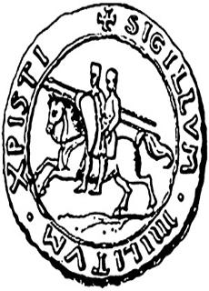Seal of the Templars - two men riding one horse as a sign of their oath of poverty.
